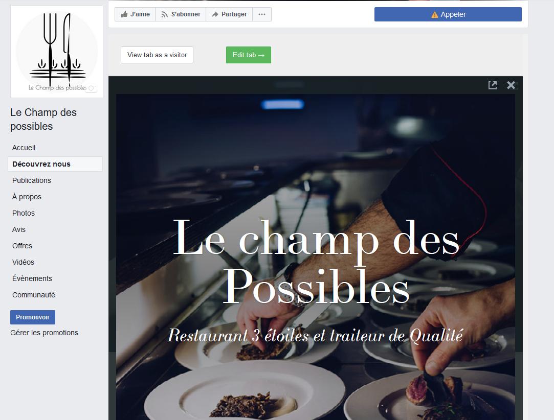 Présentation page facebook (Adobe Spark)