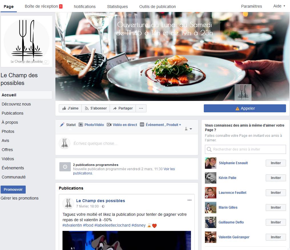 Page entreprise facebook